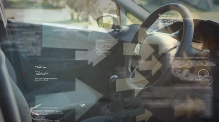 rekesz : Digital composite of the drivers seat while arrows move in the background