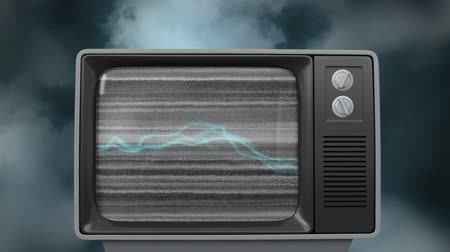 sintonizador : Digitally generated old television showing a video of a static and then glowing thunder-like lines