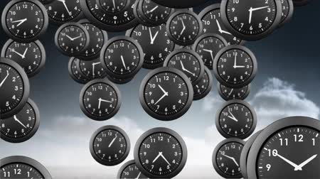 cronômetro : Digitally generated black analog clocks falling