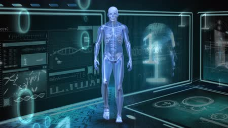 medical student : Digitally generated human anatomy walking while binary numbers and screens with data at the background Stock Footage