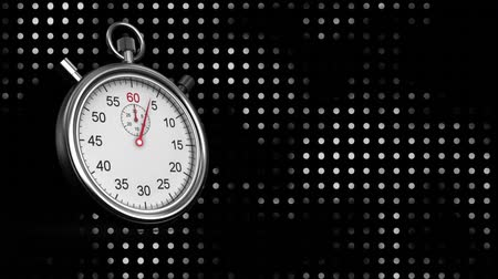 cronômetro : Digitally generated silver stopwatch counting to ten while background shows black and white dot pattern