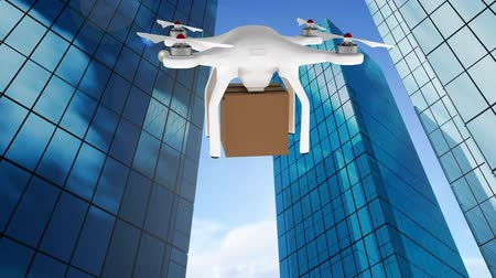 rád : Digital composite of buildings while drone flies while carrying a box