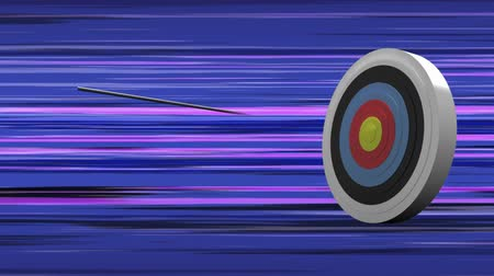 dart oyunu : Digitally generated target getting shot by arrows. Background show blue line patterns