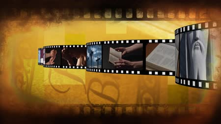 jehovah witness : Digitally generated film strip containing different videos about religion. Background of filmstrip with different videos.