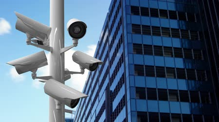road sign : Digitally generated surveillance camera working beside a building Stock Footage