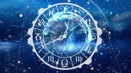 relógio : Digitally generated zodiac sign clock with a globe at the center. Background shows glowing lights.