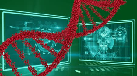 atomic model : Digitally generated DNA double helix model in red. Background shows screens with different images