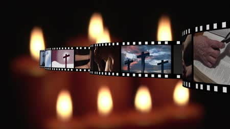 evangelical : Digitally generated film strip containing different videos about religion. background of lighted candles