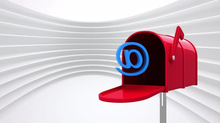 representação : Digitally generated red mailbox opening to release an @ sign while background shows white lines pattern
