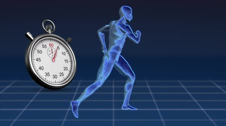 stehno : Digitally generated human model while running and a stopwatch. background of blue and square patterns