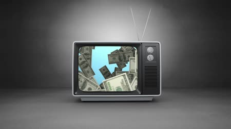 presleme : Digitally generated old television showing video of falling dollars