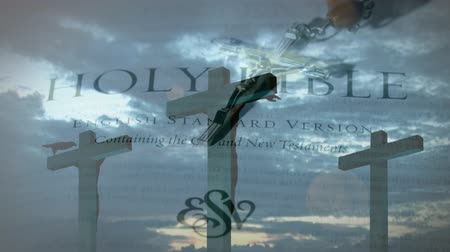 evangelical : Digital composite of three crosses. Background shows the bible, crucifix, and the sky with clouds