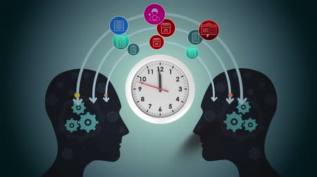 companionship : Digitally generated human head with a clock in betwee. Ideas and icons exchange Stock Footage