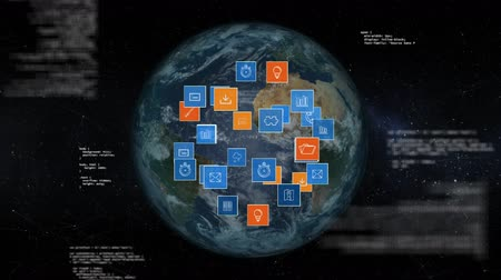 optimizasyonu : Digitally generated rotating globe while digital icons move and expands