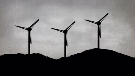 ilustrar : Digital animation of a drawing of three wind mills on top of a hill