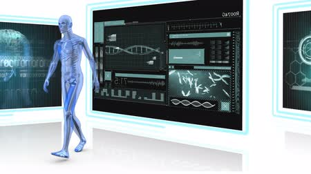 nape : Digitally generated human anatomy walking around. background shows screen with medical display