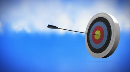 dart : Digitally generated target being hit. background shows the sky and clouds