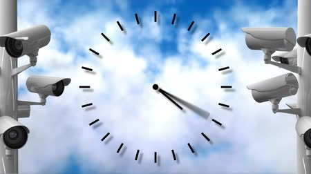 zegar : Digitally generated analog clock between surveillance cameras. Background of the sky with clouds Wideo