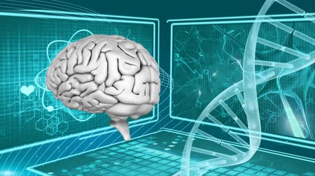 stowarzyszenie : Digitally generated human brain and dna double helix strand rotates. Background shows different screen with different images Wideo