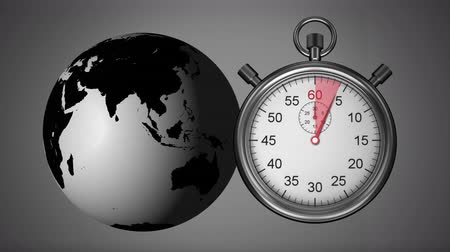 zamanlayıcı : Digitally generated rotating globe and stopwatch counting to 10 Stok Video
