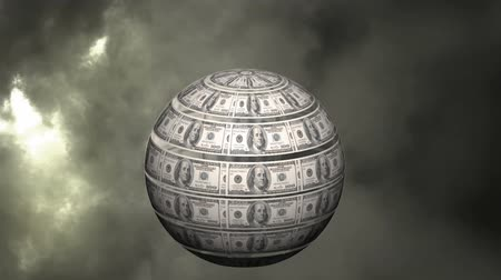 universale : Digitally generated rotating globe with dollar bills on the surface. background shows dark clouds and thunder in the sky