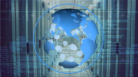 optimalizace : Digitally generated rotating globe while digital icons move and expands in hallway Dostupné videozáznamy