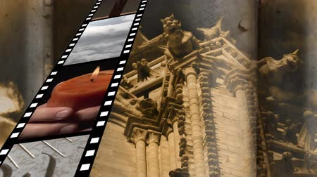 biblia : Digitally generated film strip containing different videos about religion