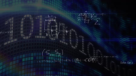 дополнение : Digitally generated digital screen while binary codes scroll and equations in white inks appear
