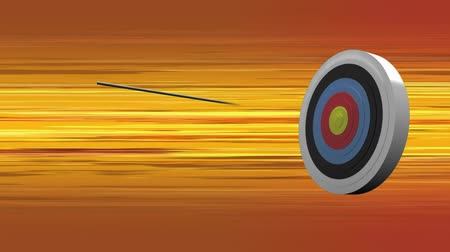 アーチェリー : Digitally generated target being hit. Background shows orange pattern