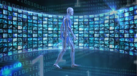 costela : Digitally generated human anatomy walking. Background shows different images and binary numbers Stock Footage