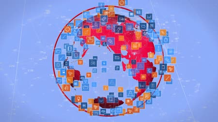 континент : Digitally generated rotating globe while digital icons move and expands. Lines and numbers move in the blue background Стоковые видеозаписи