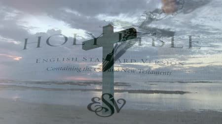 evangelical : side view of a cross by the shore with the sky and clouds. background shows holy bible and crucifix Stock Footage