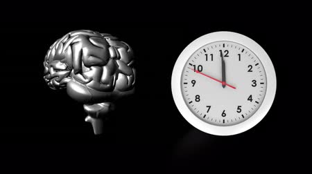 lobe : Digitally generated front view of white clock beside a rotating human brain in silver.