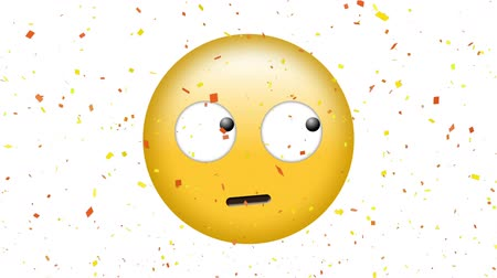 sassy : Digital animation of a face with rolling eyes emoji with confetti on a white background Stock Footage