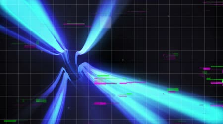 vezetett : Digital animation of a tube tunnel guided by blue beams of light while static lights blink in the foreground on a graph like dark background Stock mozgókép