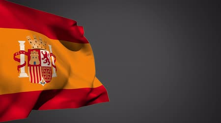 mais : Digital animation of a Spain flag waving in the wind on a grey background