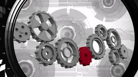 calçadão : Digital animation of cogs and gears running and then being shut in by a closing bank safe door Stock Footage