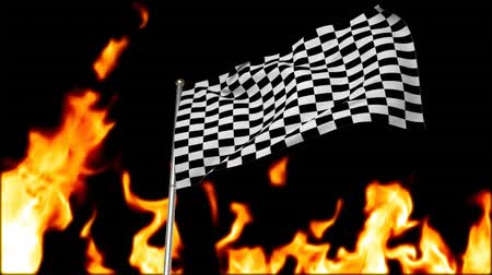 pista de corrida : Digital animation of a racing flag hanging on a pole with a flaming background Vídeos