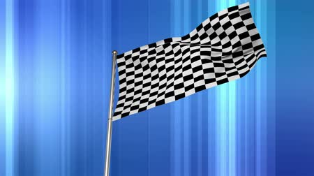 pista de corrida : Digital animation of a Racing flag hanging from a pole on blue background