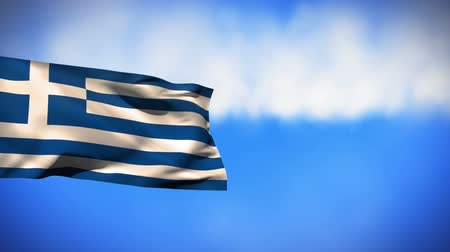 yunan : Digital animation of the flag of Greece waving in the wind with a blue sky background Stok Video