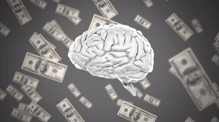 lobe : Digital animation of a rotating human brain with dollar bills floating in the back ground Stock Footage