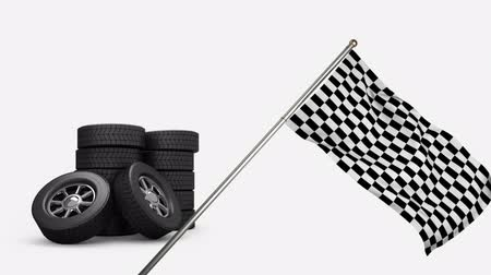 debriyaj : Digital animation of tires in the background with a racing flag hanging from a pole on the foreground