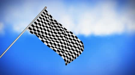 pista de corrida : Digital animation of a racing flag hanging on a pole with sky background