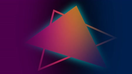 triangel : Digital animation of a glowing triangle on top of a triangle outline