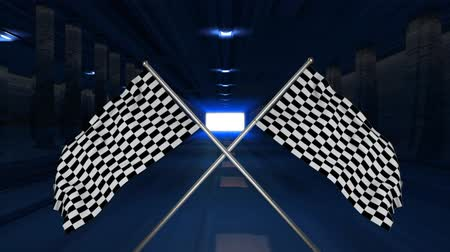 célere : Digital animation of travelling in a highway tunnel with crossed racing flags hanging on poles in the foreground