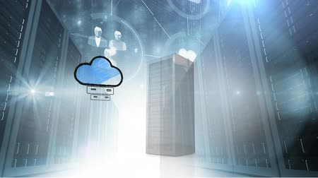 estatísticas : Digital animation of a server tower beside an illustration of cloud storage network. The background is filled with server towers