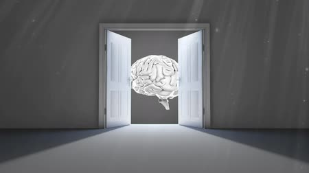 мысли : Digital animation of double doors opening to reveal a rotating human brain