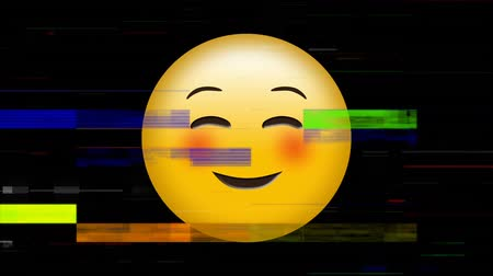 interaktif : Digital animation of a yellow face emoticon with a smiling expression and squinting eyes