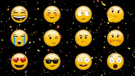 buzki : Digital animation of emojis with different expressions on a black background and digital confetti effects