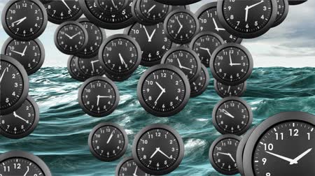 verimlilik : Digital animation of clocks continuously dropping to the water